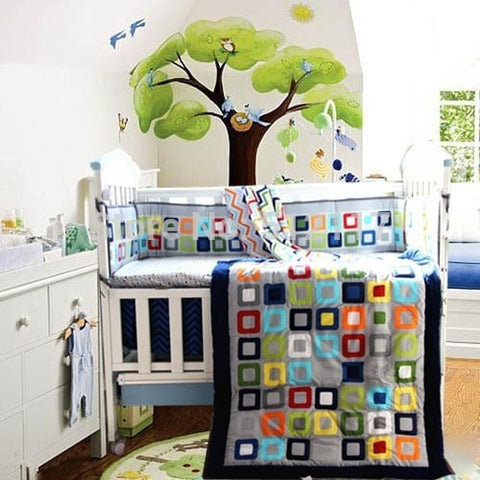 High Quality 7-PC Color Block Baby Nursery Bedding Set-Loluxe
