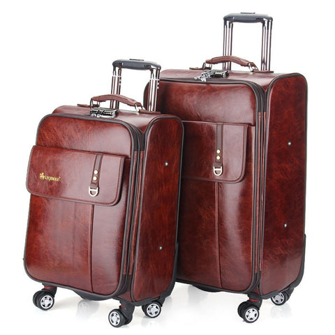 High-Quality Classic PU Leather Buckle Accent Retro-Style Spinner Wheels Trolley Luggage 3 Sizes-Loluxe