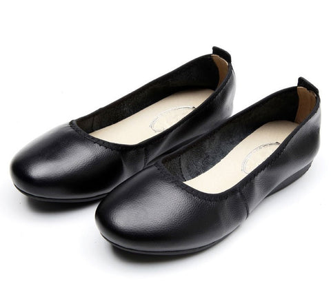 High Quality Comfortable Genuine Leather Women's Fashion Black Round Toe Ballet Flats Sizes 5-10.5-Loluxe