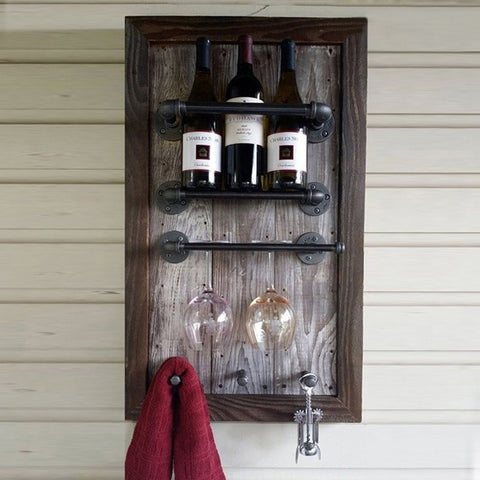 High Quality Creative Industrial Pipe Loft Bar Wine Bottle Goblet Glass Hanger Holder Hanging Rack-Kitchen > Wine Racks and Coolers-Loluxe