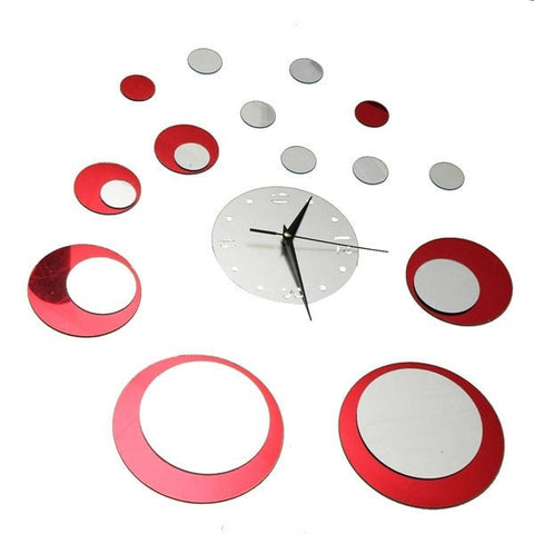 High Quality DIY 3D Mirror Red Circle Sticker Wall Mirror Decals-Loluxe