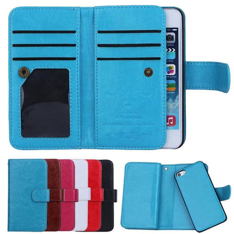High Quality Folio Leather Flip Wallet Wristlet Cellphone Case w/Card Holder for iPhone 5 5S - 6 Colors-Loluxe