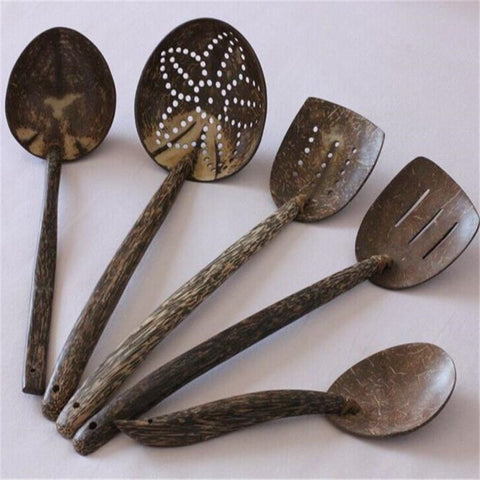 High Quality Handmade Natural Coconut Shell 5 PC Kitchen Tool Set-Loluxe