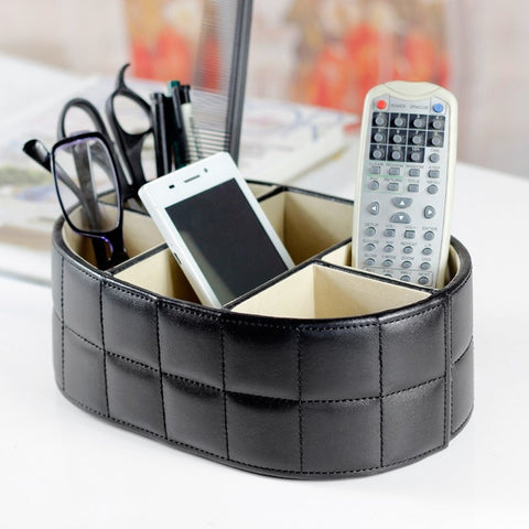 High Quality Leather Remote Control Desktop Storage Box White or Black-Loluxe