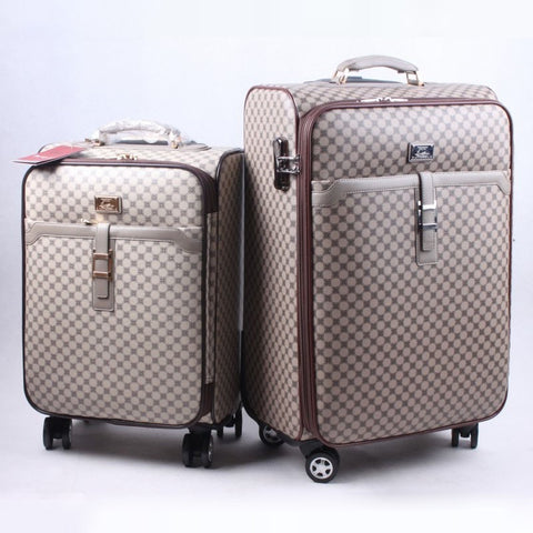 High-Quality Luxury Vintage-Style Designer Print PU Leather Trolley Luggage 2 Sizes-Loluxe