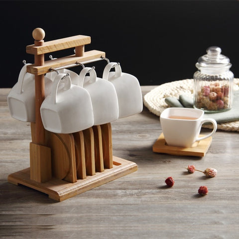 High Quality Nice Wooden Modern Style Tea Cup & Saucer Rack (Comes w/6 Ceramic Coffee Cups & 6 Wood Trays)-Loluxe