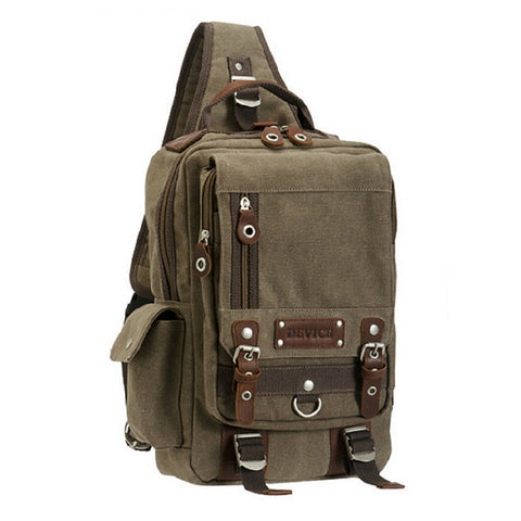 High-Quality Sporty-Style Canvas Leather Single-Shoulder Backpack 4 Colors-Loluxe