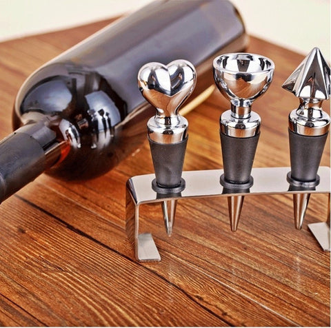 High Quality Stainless Steel Wine Stopper Base Sealing Plugs 3 PC Set-Kitchen > Wine Racks and Coolers-Loluxe