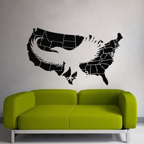 High Quality USA Map American Eagle Mural Poster Vinyl Wall Decal Wall Decor 17 Color Options-Loluxe