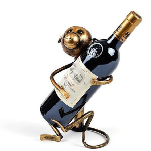 High Quality Wrought Iron Monkey Wine Bottle Holder-Kitchen > Wine Racks and Coolers-Loluxe