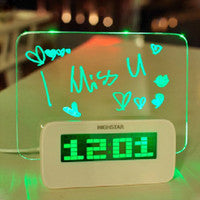 HIGHSTAR Model A Fluorescent Message Board Alarm Clock Digital Calendar Thermometer Fluorescent Light-Loluxe