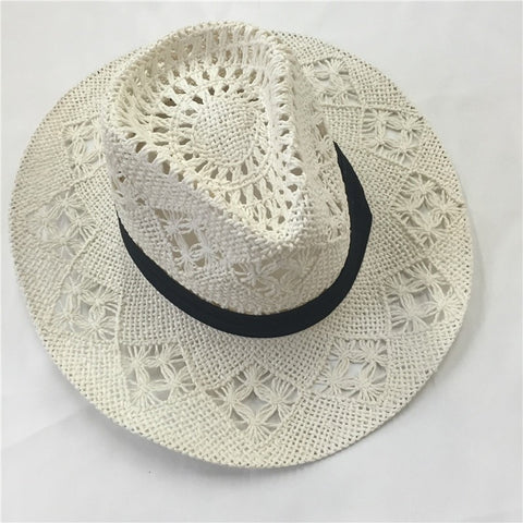 Hollowed-Out White Ribbon Band Cowboy Straw Hat-Loluxe