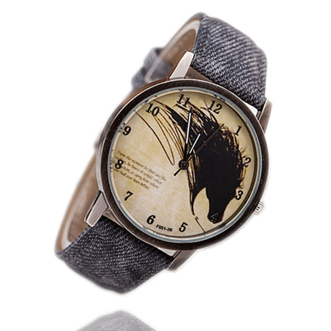Horse Head Quartz Leather Band Women Casual Watch-Loluxe