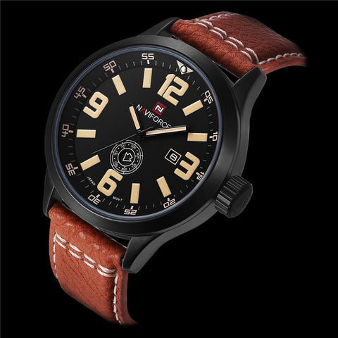 Hot Fashion Men Sports Watches Men's Quartz Hour Date Clock Leather Strap-Loluxe