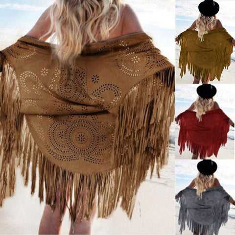 Hot Fashion Trend! Women's Fringe Accent Faux Suede Cut-Out Pattern Shawl Scarf S-XL 3 Colors-Loluxe