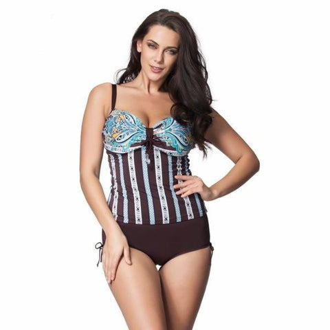 Hot Stripe Corset-Style Halter Side Ties 2-PC Tankini L-7XL-Loluxe