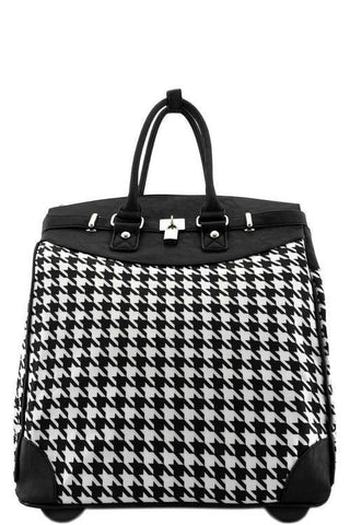 Houndstooth Foldable 2 Wheel Spinner Luggage-Loluxe
