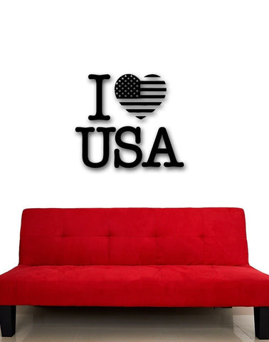 I LOVE USA Vinyl Wall Decal Patriot Flag Wall Decor-Loluxe