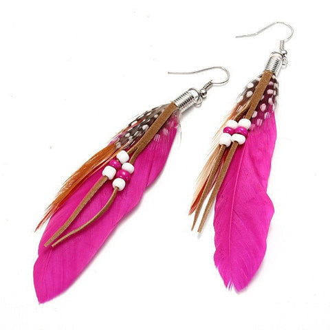 Indian Leather Hen Feather Dangle Bead Ear Drop Earrings Party-Loluxe
