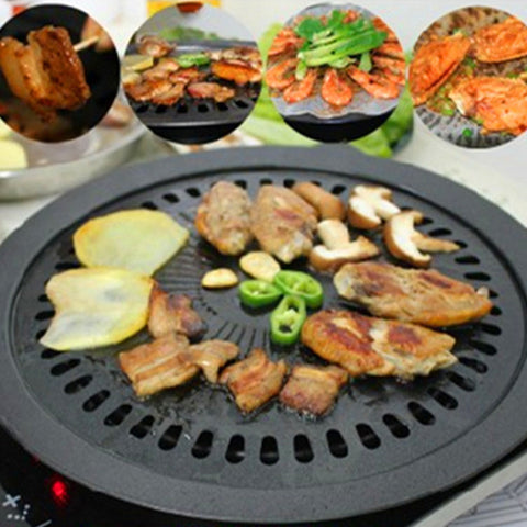 Indoor Black Smokeless BBQ Grill For Gas Stove-Loluxe