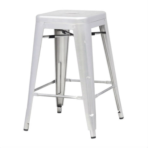 Indoor Outdoor Backless Stacking Counter Height Bar Stool in Gunmetal Galvanized Steel-Dining > Barstools-Loluxe