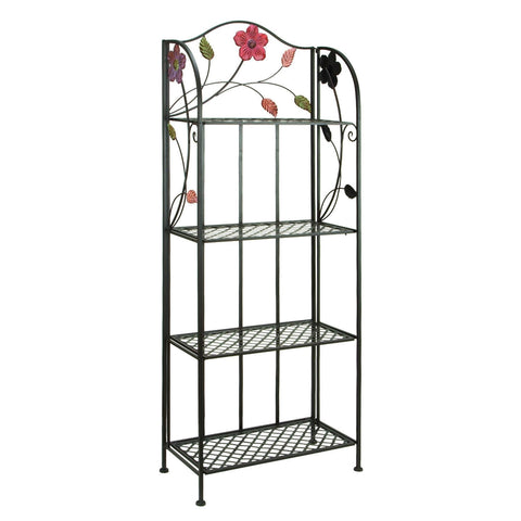 Indoor Outdoor Metal Bakers Rack Plant Stand with Floral Accents-Kitchen > Bakers Racks-Loluxe
