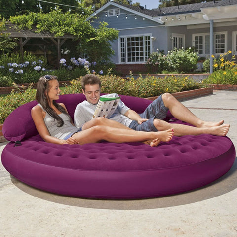 Inflatable Purple Indoor/Outdoor Detachable Backrest Circle Daybed Lounge-Living Room > Sofas-Loluxe