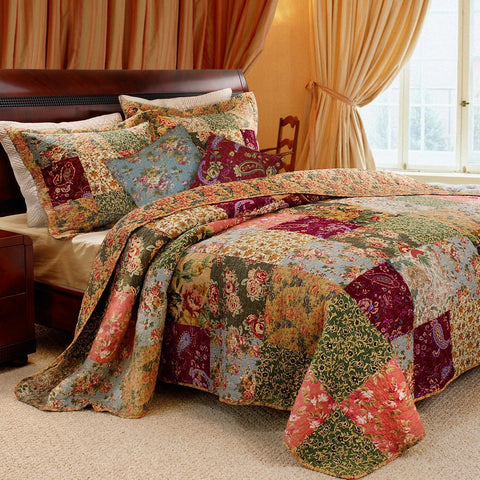 King 100% Cotton Floral Paisley Quilt Set w/ 2 Shams & 2 Pillows-Bedroom > Quilts & Blankets-Loluxe