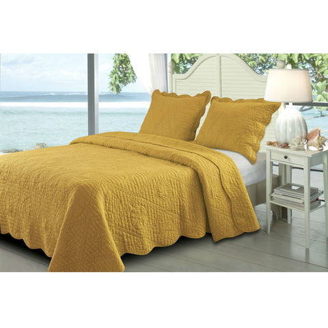 King 3 Piece Cotton Quilt Set with Sea Shells Pattern in Amber Gold-Bedroom > Quilts & Blankets-Loluxe