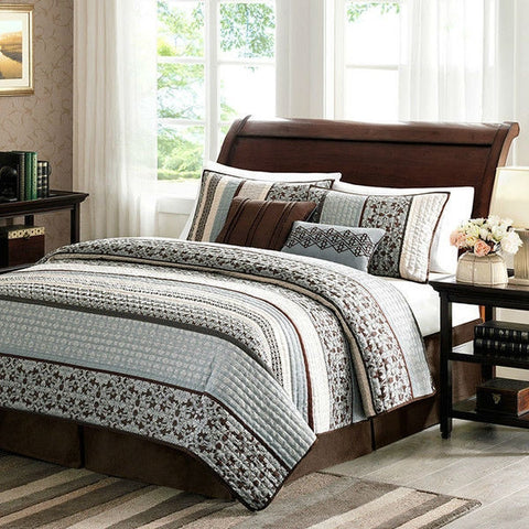 King Blue Cream Espresso Leaf Stripped 5 Piece Quilt Coverlet Set-Bedroom > Quilts & Blankets-Loluxe