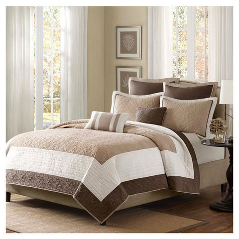 King Brown Ivory Tan Cream 7 Piece Quilt Coverlet Bedspread Set-Bedroom > Quilts & Blankets-Loluxe