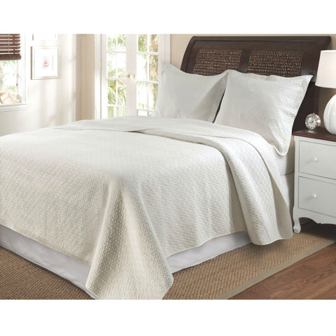 King size 100% Cotton Contemporary Quilt Set in Ivory with Diamond Pattern-Bedroom > Quilts & Blankets-Loluxe