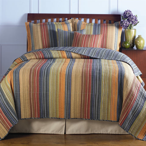 King size 100% Cotton Quilt Set with Brown Orange Red Blue Stripes-Bedroom > Quilts & Blankets-Loluxe