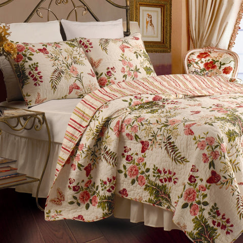 King size 3-Piece Cotton Quilt Set in Pink Beige Floral Butterflies-Bedroom > Quilts & Blankets-Loluxe