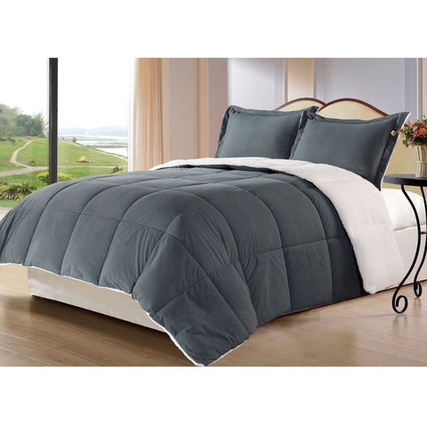 King size 3-Piece Sherpa Berber Throw Blanket Comforter Set in Grey-Bedroom > Comforters and Sets-Loluxe