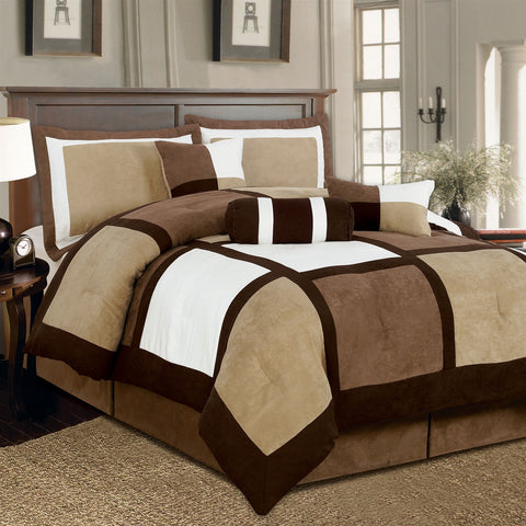King size 7-Piece Bed in a Bag Patchwork Comforter set in Brown White-Bedroom > Comforters and Sets-Loluxe