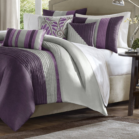 King size Bed in Bag Comforter Set Amethyst Plum Purple Gray Stripes-Bedroom > Comforters and Sets-Loluxe