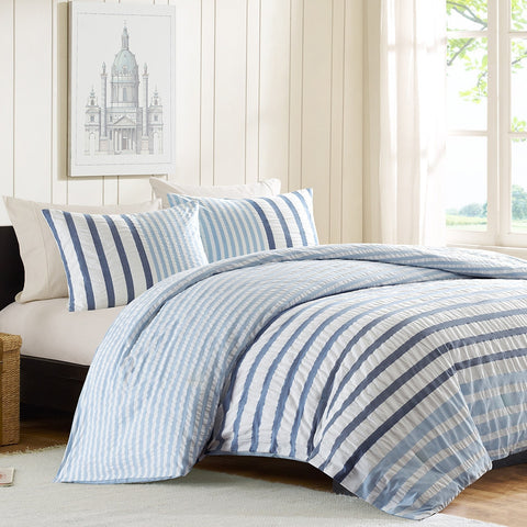 King size Blue White Navy Stripe Bed in a Bag Seersucker Comforter Set-Bedroom > Comforters and Sets-Loluxe