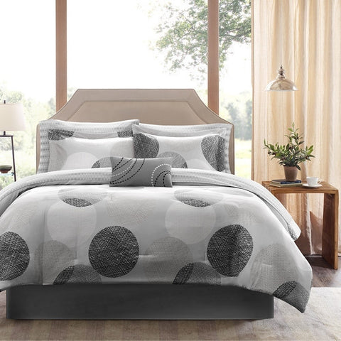 King size Modern 9-Piece Bed Bag Comforter Set with Grey Circles-Bedroom > Comforters and Sets-Loluxe