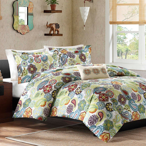 King size Multi Color Paisley 4 Piece Bed Bag Comforter Set-Bedroom > Comforters and Sets-Loluxe