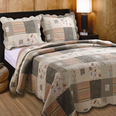 King size Southwest Floral Quilt Set with Shams 100% Cotton-Bedroom > Quilts & Blankets-Loluxe