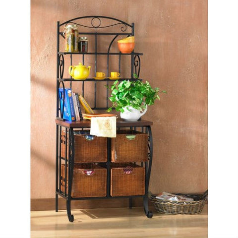 Kitchen Pantry Bakers Rack with 4 Wicker Drawers-Kitchen > Bakers Racks-Loluxe
