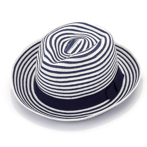 Knitted Blue-White Striped Women's Beach Fedora Hat-Loluxe