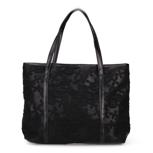 Lace Flower Big Shoulder Tote-Handbags-Loluxe