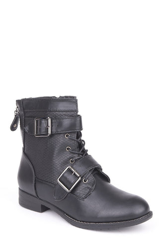 Lace Up Double Buckle Combat Boots-Footwear > Boots-Loluxe
