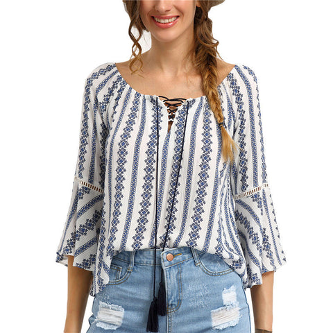 Ladies Boho Striped Casual Flutter Sleeve Top One Size-Loluxe