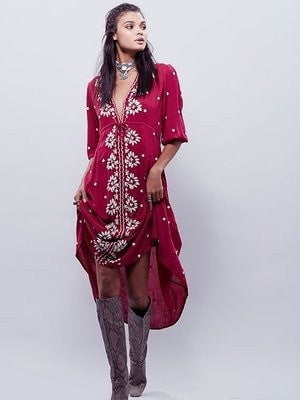Ladies Boho-Style Embroidered Cotton Linen Casual Maxi Dress S-L-Loluxe
