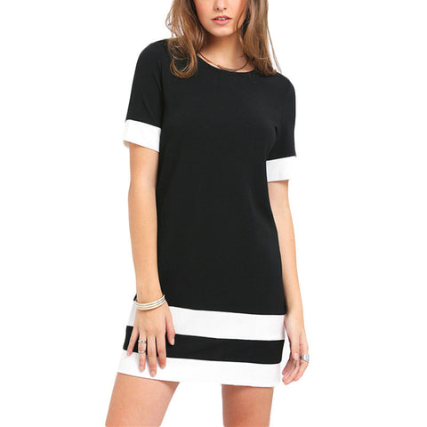 Ladies Casual Colorblock Short-Sleeve Shift Dress XS-L-Loluxe