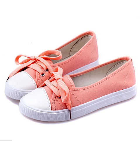 Ladies Casual Fashion Lace-Up Canvas Slip-On Sneakers 3 Colors-Loluxe