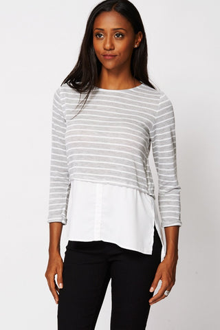 Ladies Casual Striped Layered Long-Sleeved Top 6, 10-Clothing > Tops-Loluxe